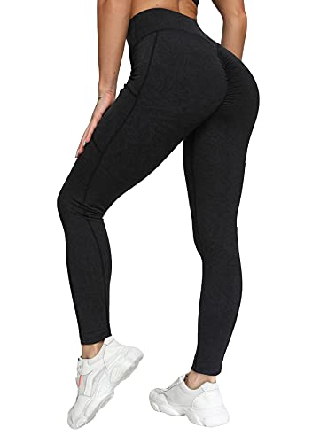 RIOJOY Leggings de deporte ajustados de cintura alta con bolsillo bilateral para mujer, transpirables, elásticos, para gimnasio, fitness, Jogging, A-negro., L