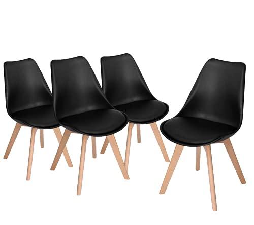 Home Heavenly - Pack de 4 sillas Comedor, Silla diseño nórdico con Asiento Acolchado, TULIPA en Blanco o Gris (Negro)