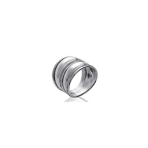 Anello largo in argento cesellato, stile Bohèmien chic, etnico, linea Mogador, 22, colore: argento, cod. 1105IZI2608