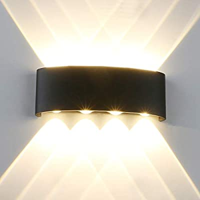 """Pathson Outdoor LED Wall Light, Waterproof 4 LEDs Hallway Porch Wall Sconce, 3000K Warm Light Up Down Wall Lamp Indoor Matte Black Wall Mount Light Fixture 3.9"""" Base"""