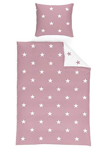 Schlafwohl Basic® weiche Microfaser Bettwäsche I Bettbezug im 2er Set I Deckenbezug: 135x200cm I Kissenbezug: 80x80cm I Stars Design I Farbe: Pink