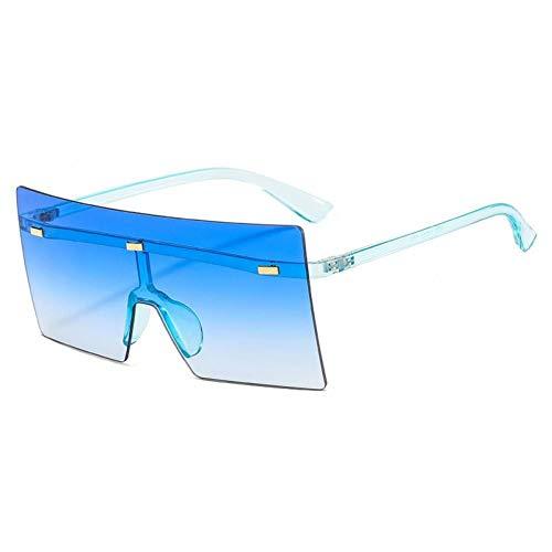 ZZOW Gafas De Sol Cuadradas Sin Montura De Gran Tamaño A La Moda para Mujer con Remaches Retro De Una Pieza con Lentes Transparentes con Gradiente Oceánico para Hombre