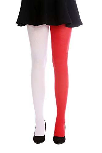 DRESS ME UP - WZ-013WR-white-red Strumpfhose Pantyhose Damenkostüm Party Karneval Halloween rot weiß S/M