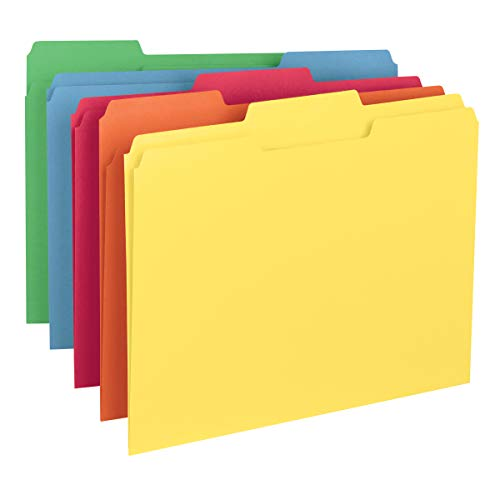 Smead Colored File Folder, 1/3-Cut Tab, Letter Size, Assorted Primary Colors, 100 per Box (11943)