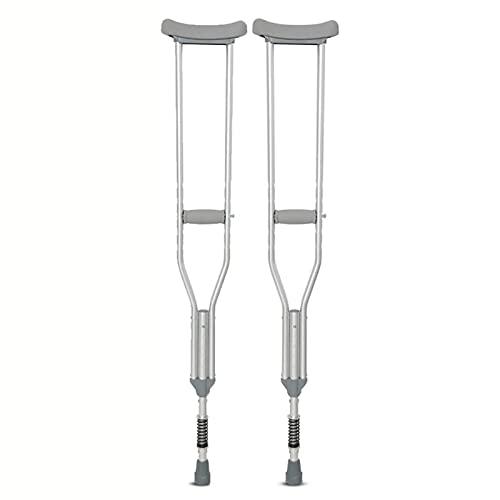 wsxc Anciano discapacitado Muletas Axilas, Aleación de Aluminio Ligero Aleación Antideslizante Sin resbalones Amortiguador Estilo Ergonómico Altura Ajustable (2 Unidades) 1 par