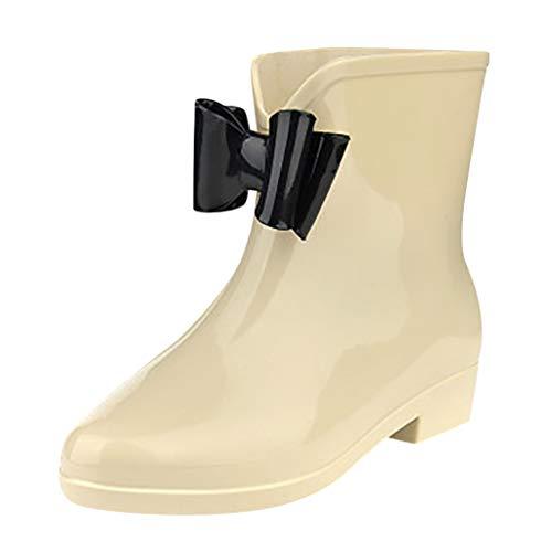 Liquidación Botas de Agua Mujer Elegante Botas de lluvia Niñas Casual Moda Zapatos Impermeable Botines Antideslizantes Botas Cortas con Arco Plano Yvelands(Beige,36)