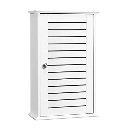 Tangkula Bathroom Wall Cabinet, Medicine Cabinet with 3 Tier Adjustable Storage Shelves with Single Louvered Door, Hanging Cupboard for Home Living Room Kitchen Bedroom Hotel (White)