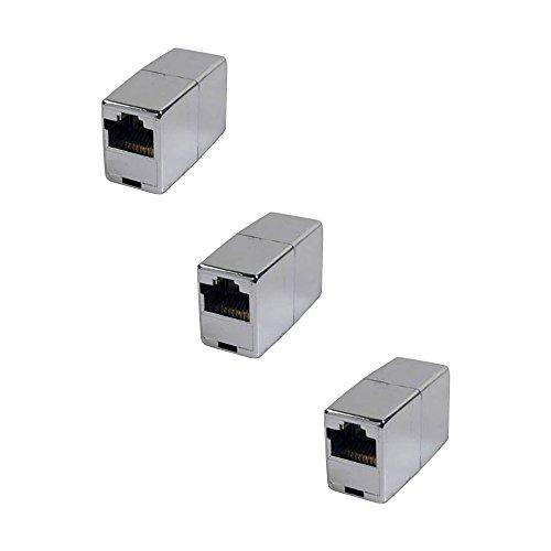 BIGtec 3 Stück RJ45 Ethernet LAN Kabel Kupplung Adapter Verbinder Netzwerk Modular Netzwerkkoppler für Patchkabel Netzwerkkabel Ethernetlan Ethernetkabel verlängern Verlängerung