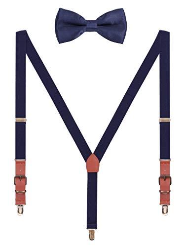 Hosenträger Fliege Sets für Herren Jugendlichen Y Form 3 Anti-Rost Clips Hosenträger Elastisch Verstellbar Classic Schick Gentleman - Dunkelblau