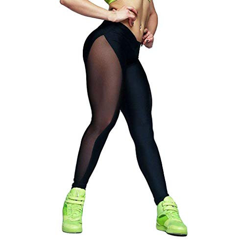 SPORTTIN Women's Yoga Pants Stretchy Skinny Sheer Mesh Insert Workout Leggings Fitness Tights(Black,L)