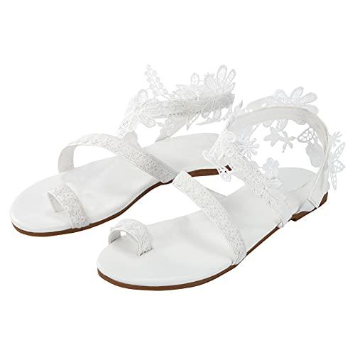 Sandalias Planas Bohemias para Mujer Zapatos Romanos con Puntera Vintage Sandalias de...