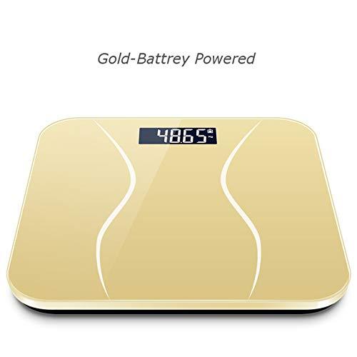 Mdsfe Boden Körperfettwaage Glas Bad Smart Waage Elektronische Digitale Gewichtsbalance Bariatrische LCD-Anzeige BMI Waage - Gold