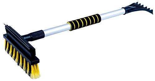 Walser Schneebürste 3in1 mit Eiskratzer und Gummilippe, robuster Eisschaber, Schneebesen mit Teleskopstange, Schneefeger ausziehbar 60-90cm