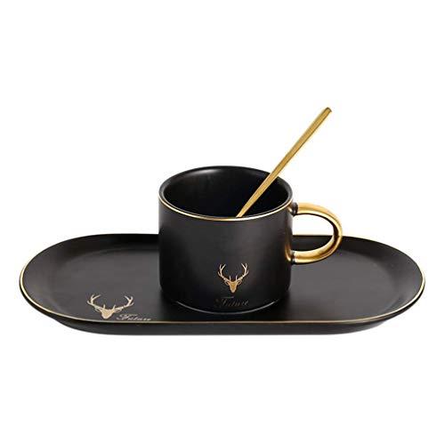 Primst Matte Keramik Teetasse Untertasse Box Set Mit Löffel Klassische Kaffeetasse Für Restaurant Und Familie Golden Trim (Pure Black)
