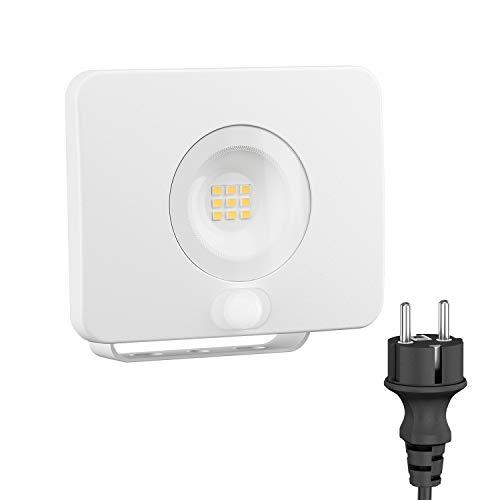 ledscom.de LED Außen-Strahler Wega mit Bewegungsmelder, flach weiß 10,5W 800lm warm-weiß