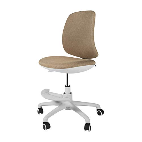 Bürostuhl Computer Stuhl Ergonomisch Schreibtischstuhl Bürostuhl,Heben Drehen Einfaches Lernbüro Keine Armlehne Mit Fußstütze Nylonfüße-Khaki