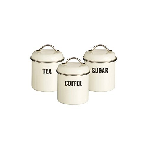 Typhoon Living Coated Steel Retro 3-Piece Canister Set, 23-3/4-Fluid Ounces, Cream