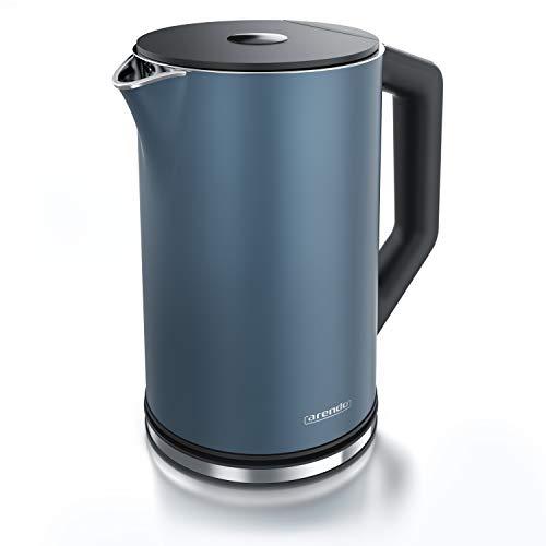 Arendo - Edelstahl Wasserkocher mit Temperatureinstellung 40-100 Grad in 5er Schritten - Doppelwand Design - Modell ELEGANT - 1,5 Liter - 2200 W - Teekocher mit Temperaturanzeige - GS - Admiralsblau