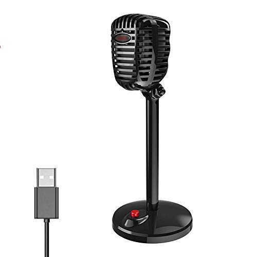 USB-Mikrofon, Retro-Stil, Kondensator-Stereo-Computer-Mikrofon mit Ständer für PC, für Broadcasting, Chatten, FaceTime, Aufnahme und Konferenz-Anrufe, SHUSHI
