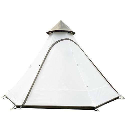 Carpas Tienda india al aire libre del viento Tipo Resistente camping Canopy Nueva Torre Pergola tienda de campaña para viajes al aire libre y senderismo ( Color : Creamy-white , Size : 3-4 persons )