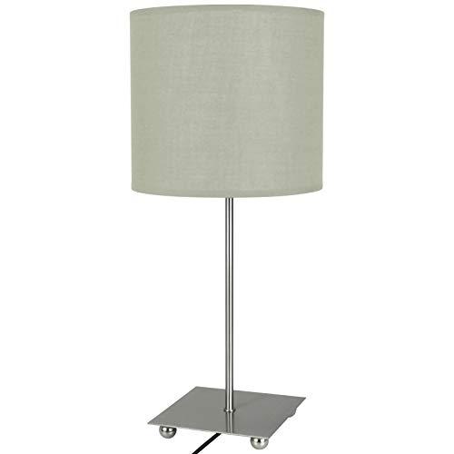 Tischlampe mit Stoffschirm 47cm mit Farbwahl Schirmleuchte Nachttischlampe Tischleuchte Schirmlampe Schreibtischleuchte (Cremeweiß)