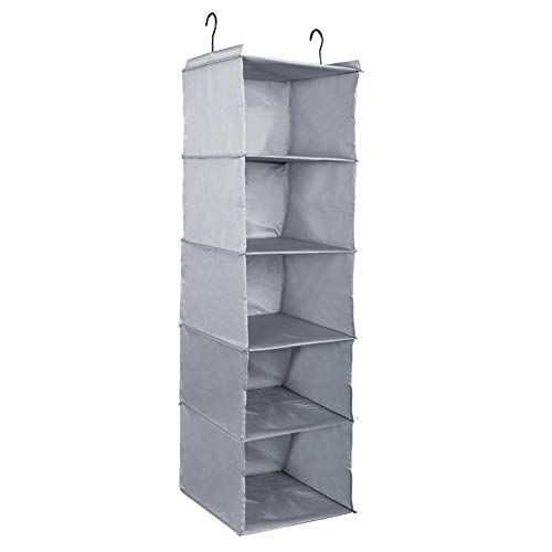 Outry Wardrobe Hanging Storage, Collapsible Closet Organizer for Clothes, Shoes, Socks, Towels and Underwear (Grey, 5-shelf)