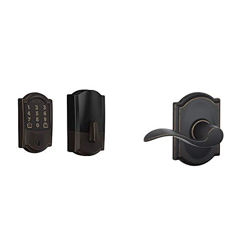 Schlage Lock Company BE489WB CAM 716 Schlage Encode Smart WiFi Deadbolt with Camelot Trim in Aged Bronze, Lock & F10 Acc 716 CAM Camelot Trim with Accent Hall and Closet Lever, Aged Bronze