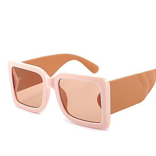 Marco grueso de moda rectángulo gradiente gafas de sol femeninas sombras de moda para señoras grandes cuadrados gafas de sol femeninas UV400 2021 estilo, a,
