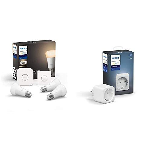 Philips Hue Kit de démarrage Ampoules LED Connectées White E27 Pack de 3 + Prise Connectée Smart Plug compatible Bluetooth, fonctionne avec Alexa
