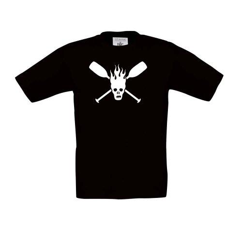 Cre9tive Shirts Paddle Skull - Kajak - Kanu, Kinder T-Shirt, Größe 152-164, schwarz