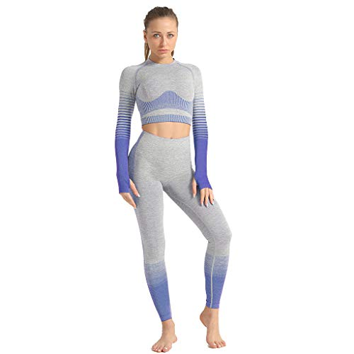 planuuik Womens gebreide naadloze trainingspak lange mouw duim gat gewas top yoga legging