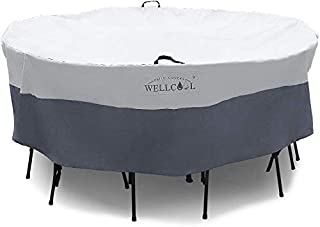 WELLCOOL Outdoor Patio Furniture Covers Waterproof Heavy Duty Outdoor Round Table Chair Set Cover,74 Dia X 28 H