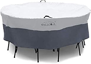 WELLCOOL Outdoor Patio Furniture Covers Waterproof Heavy Duty Outdoor Round Table Chair Set Cover,94 Dia X 28 H