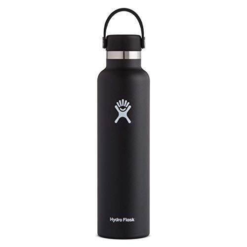 Hydro Flask Trinkflasche 709ml (24oz), Edelstahl und vakuumisoliert, Standard-Öffnung mit auslaufsicherer Flex Cap, Black