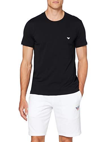 Emporio Armani Underwear Herren Multipack-Pure Cotton 2-Pack T-Shirt, Weiß (Bianco/Nero 01610), X-Large (Herstellergröße:XL)