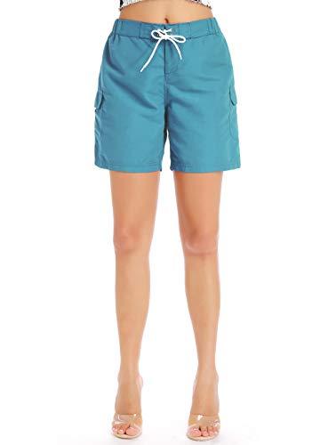 Sweet Bei J Damen Shorts Badeshorts mit Tasche Sommer Kurze Hosen Schnell Trocknendes Badehose Blau M
