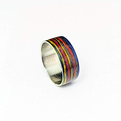 Coloured Cotton string and steel | Multi-coloured steel ring | Cotton Ring | Recycled Materials Ring | Casual Ring