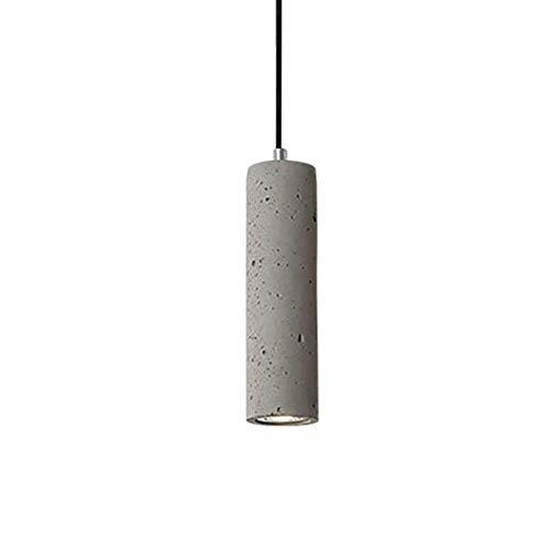 Lámpara colgante industrial de hormigón de cemento, E27, cilindro creativo durante lámparas de araña, mostrador de tienda, restaurante, escaparate gris 7x25cm