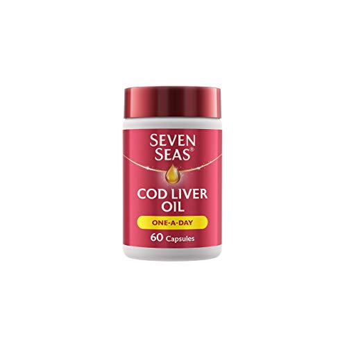 Cod Liver Oil One-A-Day by Seven Seas, Omega-3 Supplement Supporting Brain, Heart, Vision, Plus High Strength Vitamin D for the Immune System, 60 Capsules