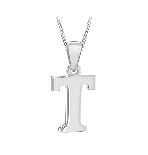 Tuscany Silver Women's Sterling Silver Initial T Pendant on Curb Chain of Length 46 cm/18 Inch