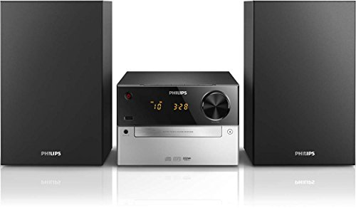 Philips MCM2300 12 - Minicadena de Música con CD y USB (Radio FM, MP3-CD, Entrada de Audio, Puerto USB para Carga, Altavoces Bass Reflex, Control Digital del Sonido) Color Negro y Gris