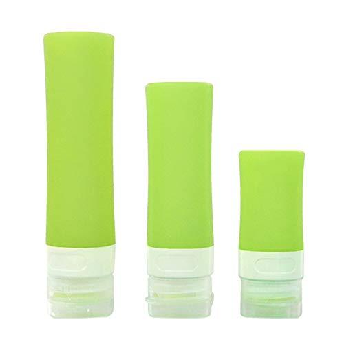 XINXI-MAO Camping-Tools. Auslaufsichere ReiseflascheRefillbare squeezable Silikonflaschen und klarer Eva-Kosmetikkoffer (3er Set) (Color : Green)