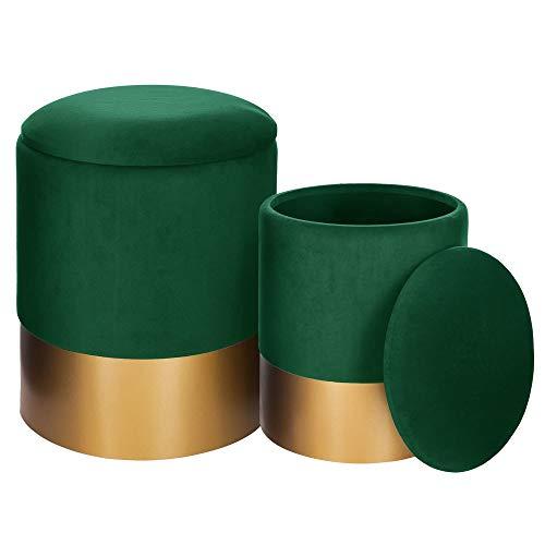 AC-Déco Lot de 2 poufs - Spirit - Vert