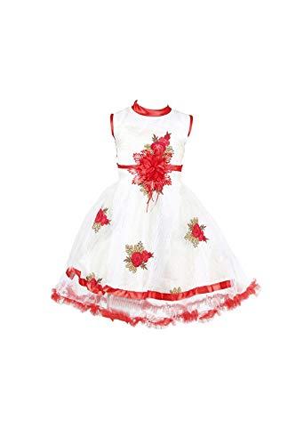 YAYAVAR Girl's Frock Knee Length Dress (YVR0002B_White &Red_2-3Years)