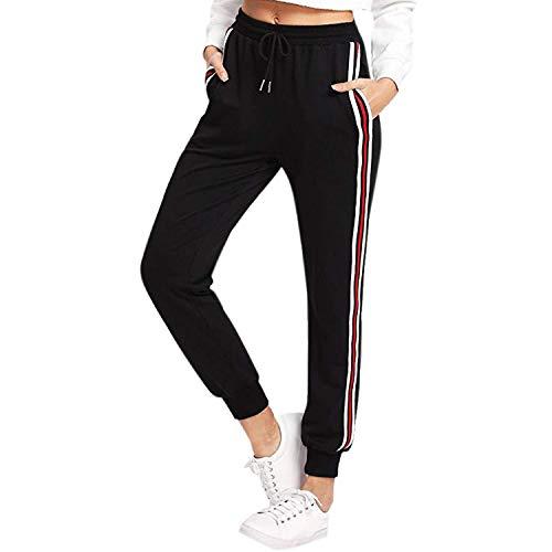 LAEMILIA Damen Sportswear Sporthose Streifen Freizeithose mit Tunnelzug Jogging Hose Mid-Waist Casual