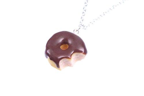 Donut Kette angebissen Schoko 60cm Silber-Farben Zuckerguss Schokolade