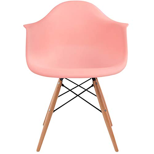 2xhome Style Eiffel Mid Century Modern Dining Arm Chair with Natural Wood Legs, Coral Pink