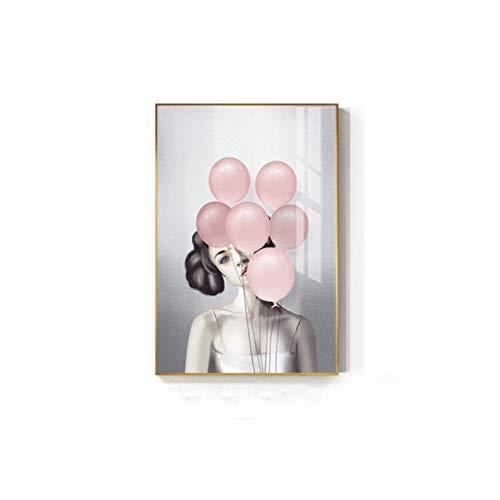 Prettygirl Sexy Barbie Girl Bubble Wall Art Nordic Mujeres Lienzo Arte de la Pared Pintura Póster e Impresiones para la Sala de Estar Decoración del hogar -50x75 cm Sin Marco