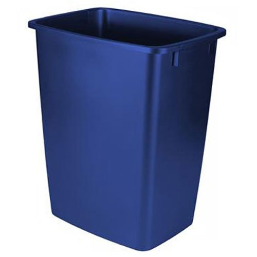 Rubbermaid Small Kitchen Bathroom Waste Basket, Under-Sink Trash Can, Plastic Blue Recycle, 9 Gallons