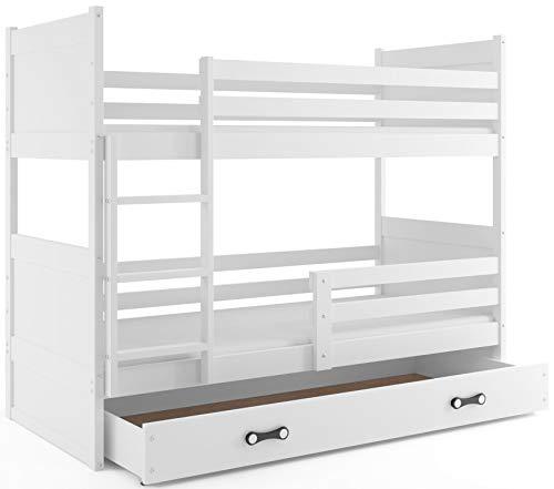 Interbeds Lit superposé Rico 160x80 avec sommier, Matelas et tiroir-Coffre, Blanc + la 2eme Couleur choisie (Blanc+Blanc)